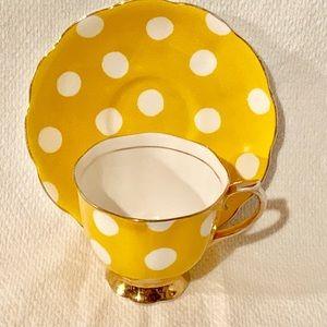 Royal Albert Yellow Polkadot Teacup and Saucer